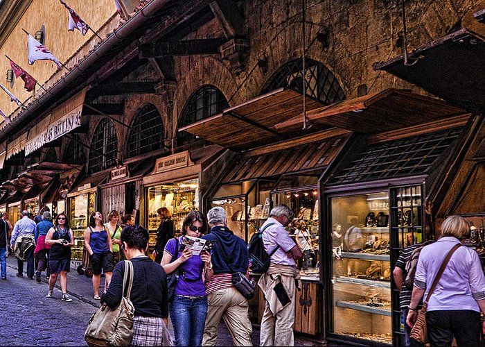 Ponte Vecchio Greeting Card featuring the photograph Ponte Vecchio Merchants - Florence by Jon Berghoff