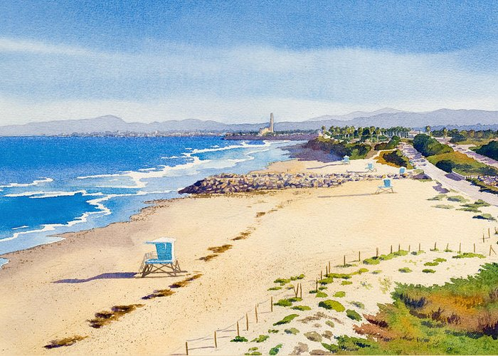 Ponto Greeting Card featuring the painting Ponto Beach Carlsbad California by Mary Helmreich