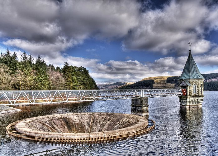 The Valve Tower Greeting Card featuring the photograph Pontsticill Reservoir 2 by Steve Purnell