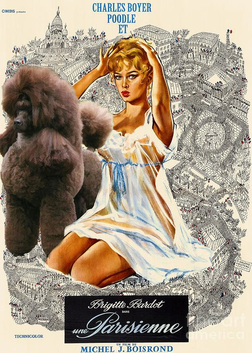 Dog Greeting Card featuring the painting Poodle Art - Una Parisienne Movie Poster by Sandra Sij