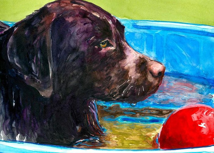Chocolate Lab Greeting Card featuring the painting Pool Party Of One by Molly Poole