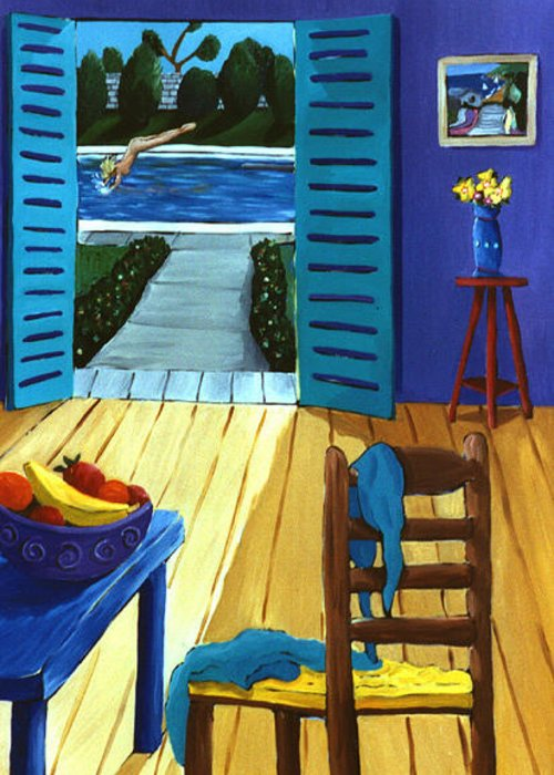 Pool Side Greeting Card featuring the painting Pool Side Suite by Lance Headlee