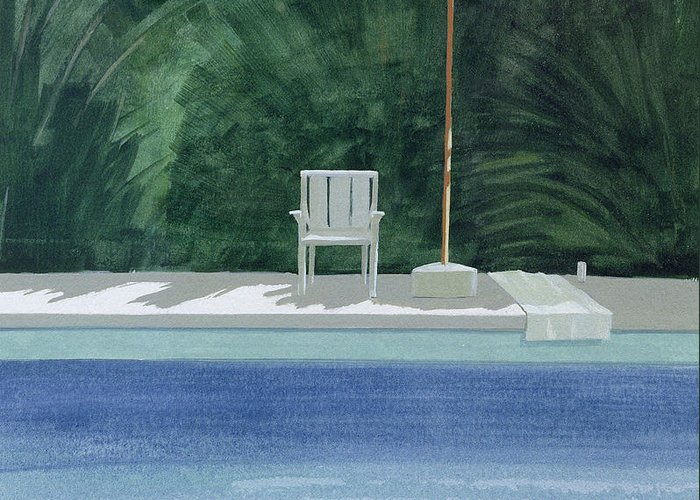 Sunbed Greeting Card featuring the photograph Poolside, 1994 Acrylic On Paper by Lincoln Seligman