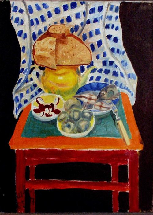 Poor Man's Diner Greeting Card featuring the painting Poor Artist's Supper by Vladimir A Shvartsman