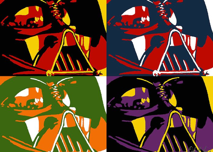 Star Wars Greeting Card featuring the painting Pop Art Vader by Dale Loos Jr
