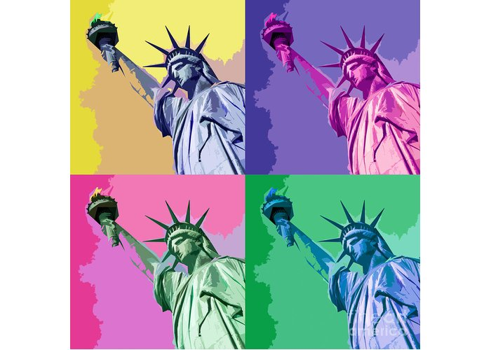Statue Of Liberty Greeting Card featuring the digital art Pop Liberty by Delphimages Photo Creations