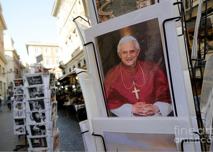 Benoit Xvi Greeting Card featuring the photograph Pope Benedict Xvi. Postcard In A Rack. Rome. Lazio. Italy. Europe by Bernard Jaubert