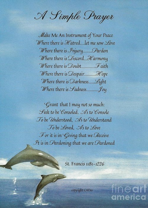 St. Francis Greeting Card featuring the mixed media Pope Francis St. Francis Simple Prayer Dance Of The Dolphins by Desiderata Gallery