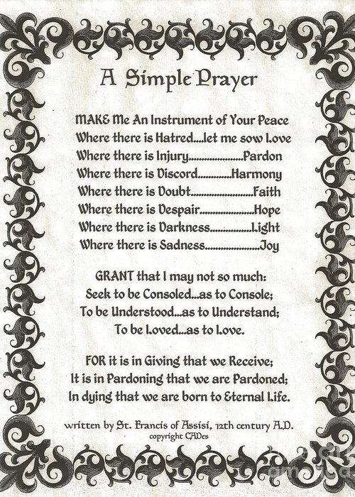 St. Francis Greeting Card featuring the mixed media Pope Francis St. Francis Simple Prayer Fleury Of Faith by Desiderata Gallery