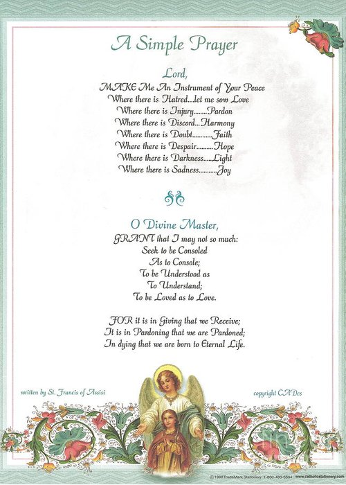 St. Francis Greeting Card featuring the mixed media Pope Francis St. Francis Simple Prayer Florentine Angel by Desiderata Gallery