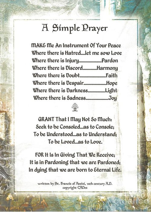 St. Francis Greeting Card featuring the mixed media Pope Francis St. Francis Simple Prayer For Peace by Desiderata Gallery
