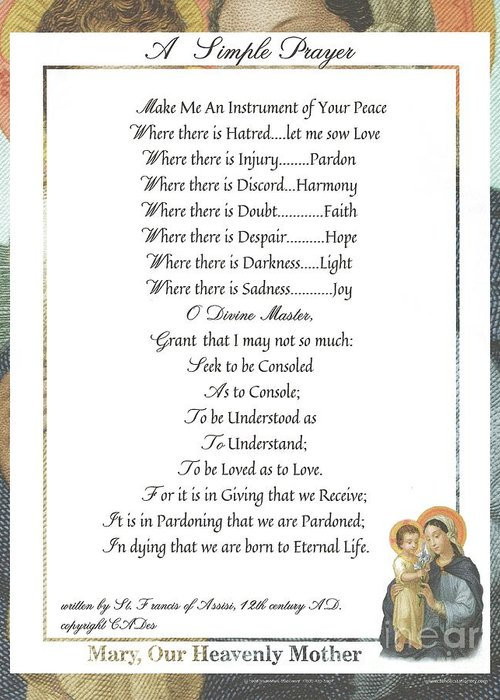 St. Francis Greeting Card featuring the mixed media Pope Francis St. Francis Simple Prayer Mary by Desiderata Gallery