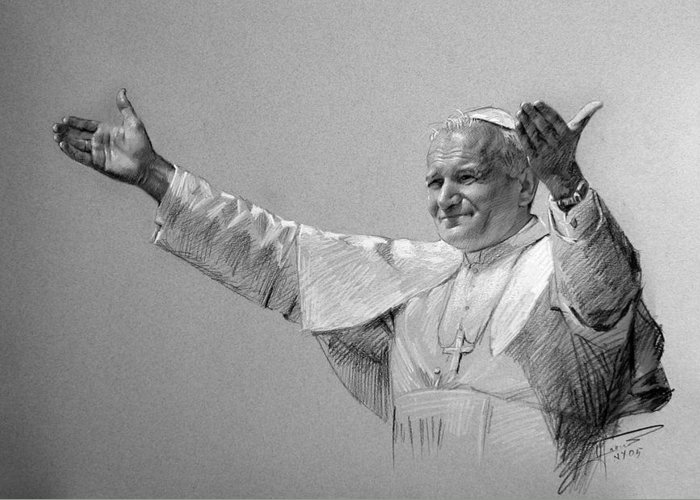 Pope John Paul Ii Greeting Card featuring the drawing Pope John Paul II Bw by Ylli Haruni