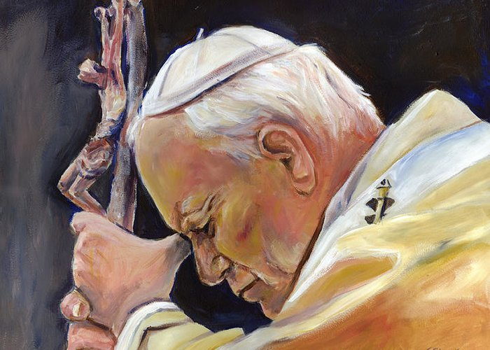 Pope Greeting Card featuring the painting Pope John Paul II by Sheila Diemert