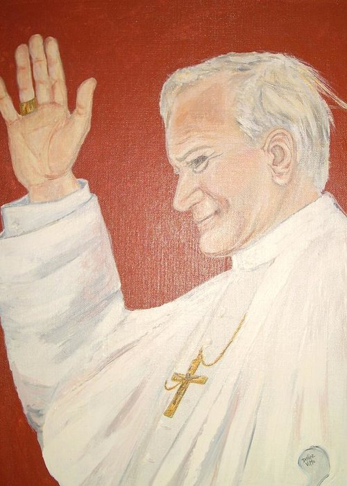 Original Portrait Of Pope John Paul Ii Painted With Acrylic On Canvas Board. The Background Is Deep Red Greeting Card featuring the painting Pope Johnpaul II by Desline Vitto
