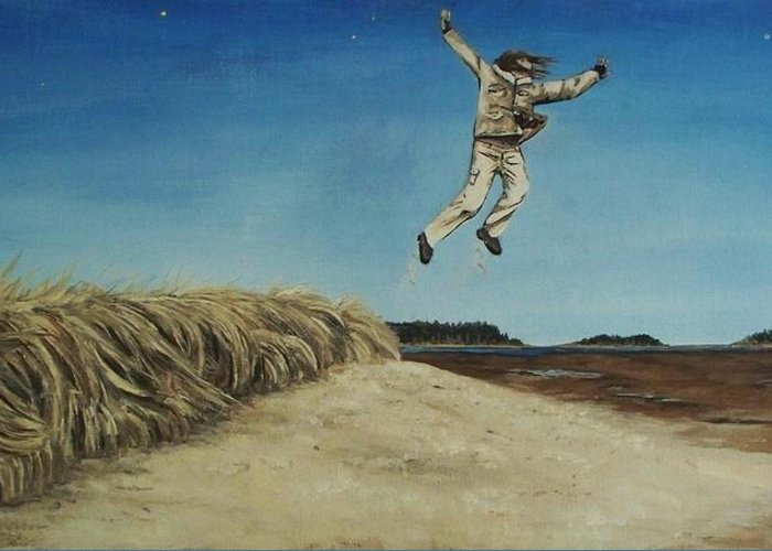 Landscape Greeting Card featuring the painting Popham Jump by Gregory Waters