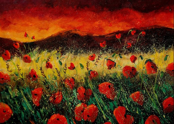 Poppies Greeting Card featuring the painting Poppies 68 by Pol Ledent