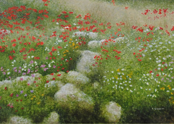 Landscape Greeting Card featuring the painting Poppies And Wildflowers by Richard Ginnett
