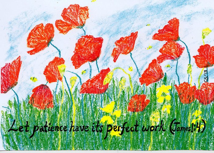 Poppies Greeting Card featuring the painting Poppies by Catherine Saldana
