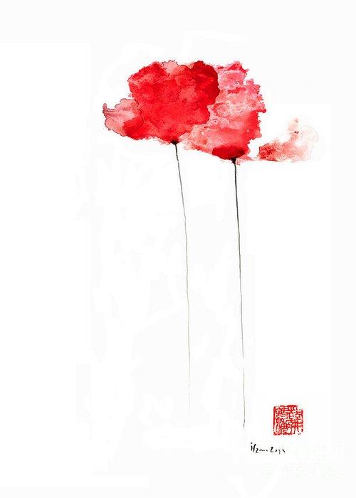 Poppies Flowers Orange Red Poppy Flower Watercolor Painting Greeting
