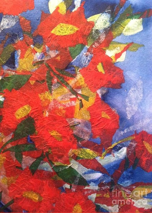 Owl Greeting Card featuring the painting Poppies Gone Wild by Sherry Harradence