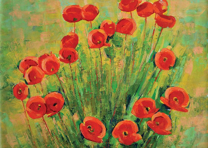 Poppies Greeting Card featuring the painting Poppies by Iliyan Bozhanov