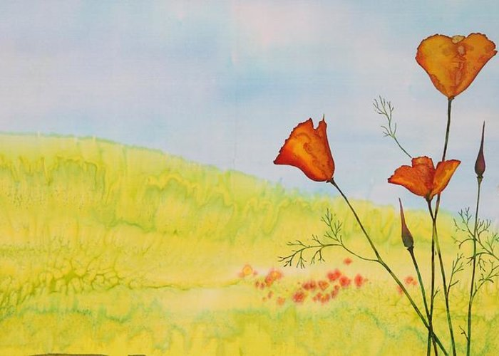 Poppies Greeting Card featuring the tapestry - textile Poppies In A Field by Carolyn Doe