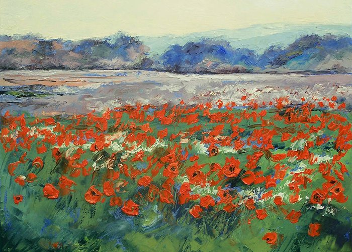 Poppies Greeting Card featuring the painting Poppies In Flanders Fields by Michael Creese