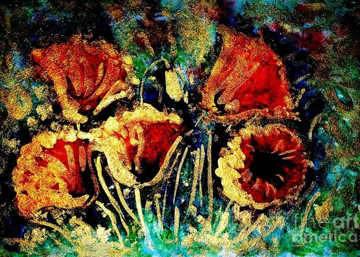 Poppies Greeting Card featuring the painting Poppies In Gold by Zaira Dzhaubaeva