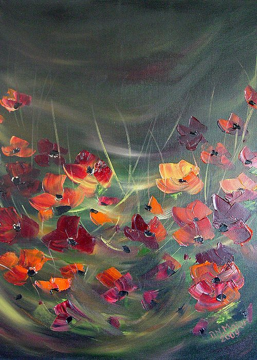 Poppies Greeting Card featuring the painting Poppies In The Shadow by Dorothy Maier