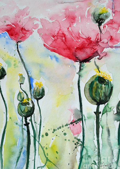 Poppy Greeting Card featuring the painting Poppies by Ismeta Gruenwald