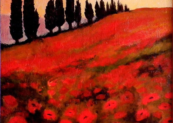 Poppies Greeting Card featuring the painting Poppies by John Shipp