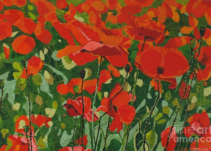 Floral Greeting Card featuring the painting Poppies by Leah Tomaino