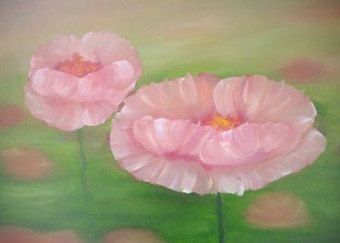 Greeting Card featuring the painting Poppies by Natascha De la Court