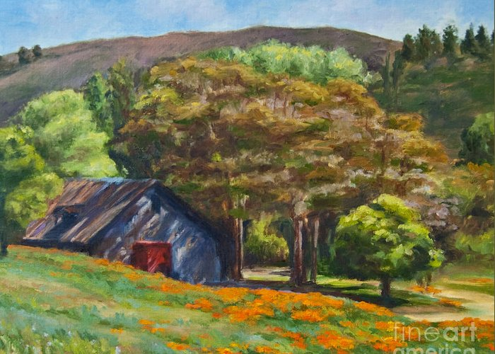 Poppies Greeting Card featuring the painting Poppies Near The Barn by Laura Sapko