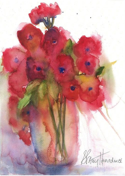 Red Poppies Greeting Card featuring the painting Poppies by Sherry Harradence