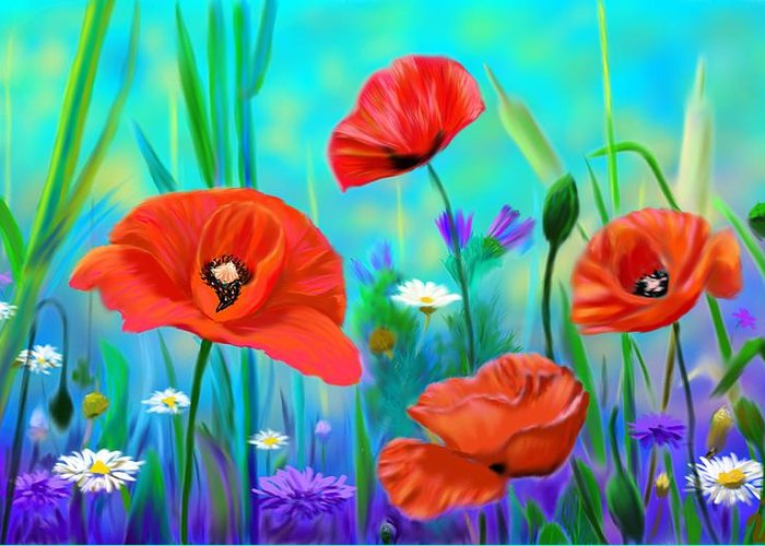 Greeting Card featuring the digital art Poppies by Unal Gonkesen