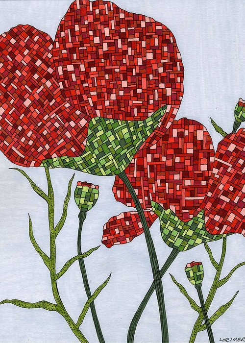 Nature Greeting Card featuring the mixed media Poppies by Valerie Lorimer