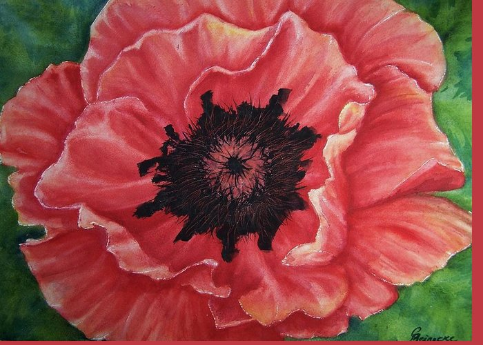 Poppy Greeting Card featuring the painting Poppy by Conni Reinecke