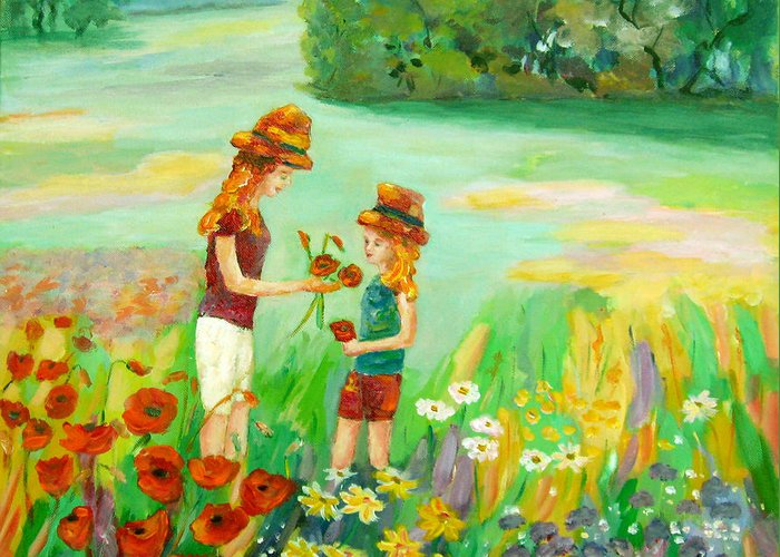Girls Enjoying Wild Flowers Greeting Card featuring the painting Poppy Energy by Naomi Gerrard