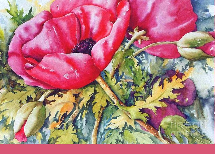 Red Poppies Greeting Card featuring the painting Poppy Family 3 by Marta Styk