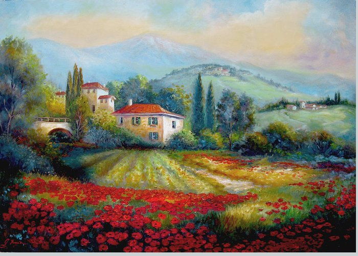 Mediterranean Landscape Greeting Card featuring the painting Poppy Fields Of Italy by Regina Femrite