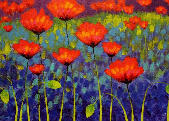 Acrylic Greeting Card featuring the painting Poppy Meadow  Cropped 2 by John Nolan