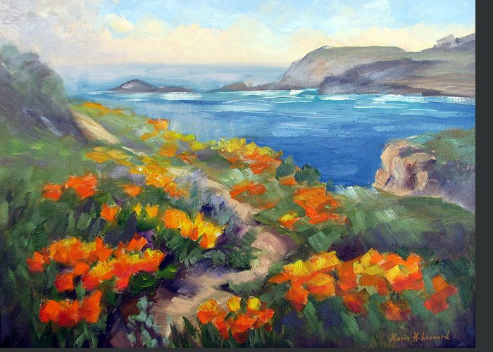 Point Lobos Greeting Card featuring the painting Poppy Path Pt. Lobos by Karin Leonard