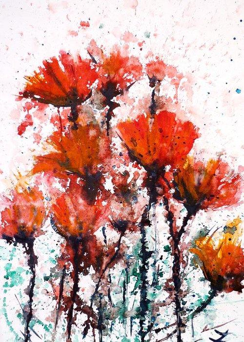 Poppies Greeting Card featuring the painting Poppy Splashes by Zaira Dzhaubaeva