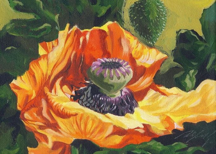 Garden Greeting Card featuring the painting Poppy With Yellow by Alfred Ng