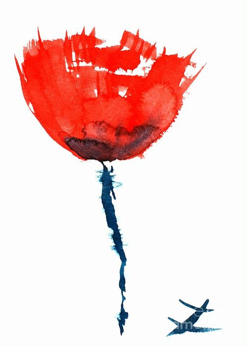 Poppies Greeting Card featuring the painting Poppy by Zaira Dzhaubaeva