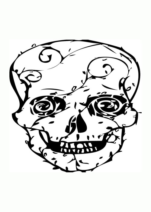 Day Of The Dead Greeting Card featuring the digital art Popskull by Ellsbeth Page
