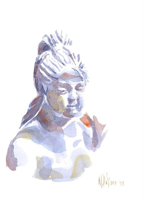 Porcelain Maiden In Watercolor Greeting Card featuring the painting Porcelain Maiden In Watercolor by Kip DeVore