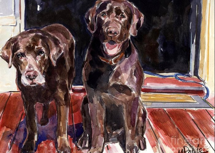 Chocolate Labs Greeting Card featuring the painting Porch Light by Molly Poole